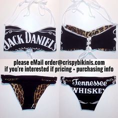 How CRISPY Customers Do It: Jack Daniel's 'WHISKEY GIRL' Suit handmade in our BABETTE Bandeau Top • GEM Bottom styles ❤ please eMail us at order@crispybikinis.com if you're interested in pricing + purchasing info:)