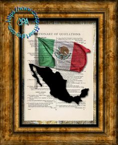MEXICO Black Silhouette with Green, White & Red Flag Art - Vintage Dictionary Page Art Print Upcycled Page Print by CocoPuffsArt on Etsy