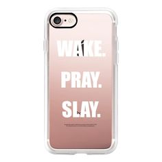 Beyonce- Wake- Pray- Slay- - iPhone 7 Case, iPhone 7 Plus Case, iPhone... ($40) ❤ liked on Polyvore featuring accessories, tech accessories, iphone case, iphone hard case, iphone cases, apple iphone case and iphone cover case