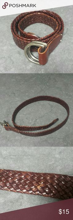 "Limited Woven Belt Dark brown leather woven belt.  Does show a little wear has slight scratches near buckle. Looks super cute with jeans.    Length: 35 3/4"" Width: 1"" The Limited Accessories Belts"