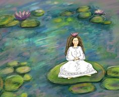 Waterlilies Water Lilies, Disney Characters, Fictional Characters, Key, Illustrations, Disney Princess, Painting, Unique Key, Illustration