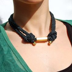 Minimal rope necklace, brass nuts