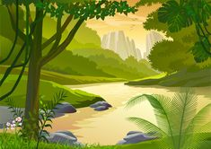 Forest Side River Cartoon Landscape - Free Vector