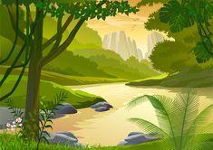 Forest Side River Cartoon Landscape - Free Vector
