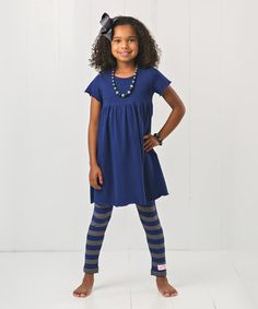 Look what I found on #zulily! Blue & Charcoal Stripe Legging Set - Infant, Toddler & Girls #zulilyfinds