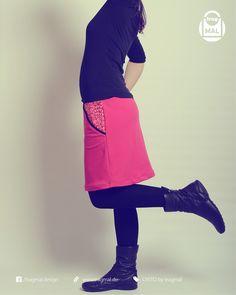 Rock - nach dem Freebook OISTO Heute gibt es einen neuen Rock nach unserem Freebook OISTO für mich. Ich habe ihn diesmal aus pinkfarbenen Sommersweat und Resten des tollen Yolanda Stoffes von Alles für Selbermacher genäht.