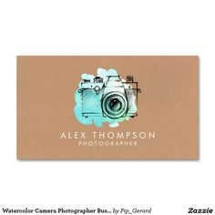 Watercolor Camera Photographer Business Cards More