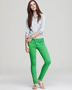 Paige Denim Jeans - Verdugo Ultra Skinny in Kelly Green | Bloomingdale's