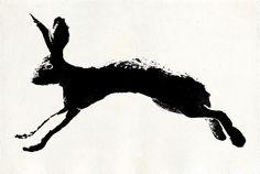 "dannyschutt:    Jack rabbit (one of three). Ink on watercolor paper. 22.5"" x 15"""
