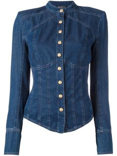 BALMAIN collarless denim shirt. #balmain #cloth #shirt