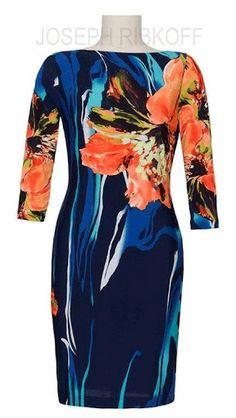 Joseph Ribkoff Tropical print dress #fashion2016 at Aspirations. #josephribkoff #springracing #races #autumn #winter #horseraces