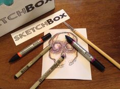 Received my first Sketchbox today! Two micron. Winsor And Newton Watercolor, Pen And Watercolor, Sketch Box, Colouring Techniques, Nifty, Adult Coloring, Art Supplies, Skulls, Pens