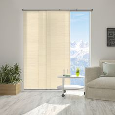 Chicology Panel Track Blinds Abaca Alabaster Polyester Cordless Vertical Blinds - 80 in. W x 96 in. L, Abaca Alabaster (Privacy & Natural Woven) Tie Up Shades, Room Cooler, Horizontal Blinds, Hidden Spaces, Sliding Panels, Solar Shades, Shades Blinds, Wall Installation, Room Darkening