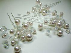Perla y cristal horquilla nupcial accesorios por MommaGoddess
