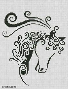Лошадь №7 Животные Монохром  Схема для вышивки scheme for cross stitch