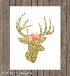 Gold glitter deer head with floral crown.  8x10 digital printable.  Nursery/home decor print. on Etsy, $5.00
