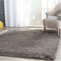 Hand Tufted/Hand Hooked Grey Rug Willa Arlo Interiors Rug Size: 90 x 150 cm - Fur Carpet, Brown Carpet, Grey Carpet, Black Faux Fur Rug, Princess Room Decor, Faux Fur Area Rug, Interior Rugs, Fluffy Rug, Handmade Rugs