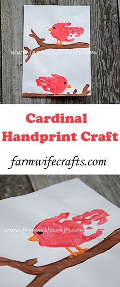Cardinal Handprint Craft - The Farmwife Crafts An easy and fun cardinal craft using child's handprints. Perfect for any bird lover.An easy and fun cardinal craft using child's handprints. Perfect for any bird lover. Bird Crafts Preschool, Preschool Art Projects, Toddler Art Projects, Daycare Crafts, Classroom Crafts, Toddler Crafts, Preschool Activities, Farm Crafts, Winter Crafts For Kids