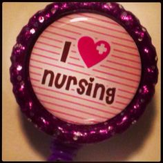 I Love Nursing Retractable ID Snap Badge Reel on Etsy, $8.55