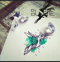 Hummingbird watercolour abstract geometric tattoo