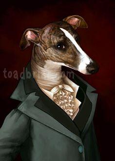 Whippet Regency beau Gentleman Print