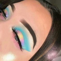 Pinterest @IIIannaIII *Artist tagged #EyeMakeupGlitter Colorful Makeup, Pastel Makeup, Makeup Inspo, Makeup On Fleek, Makeup Art, Makeup Goals, Makeup Tips, Cat Makeup, Rainbow Eye Makeup