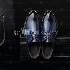 Hombre-Tacón Plano-ConfortOficina y Trabajo-Cuero-Negro / Azul / Marrón / Amarillo 2017 - $99980 Outfit Hombre Formal, Men Dress, Dress Shoes, Oxford Shoes, Loafers, Fashion, Leather Boots, Black Leather, Blue Brown