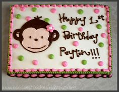 Cute Monkey Birthday sheet cakes | And here is the sheet cake for the rest of the guests. Pink and green ...