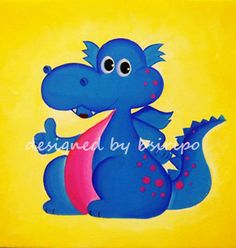 Great Little Blue Dragon  Original Acrylic Painting by bsiripo