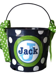 10 Quart Personalized Easter Pail Basket by monkeyseeboutique, $30.00