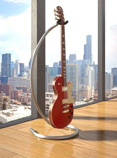 High end modern stainless steel guitar stand. Guitar Storage, Guitar Rack, Guitar Hanger, Diy Guitar Stand, Cool Guitar, Acoustic Guitar Photography, Guitar Cabinet, Recording Studio Design, Antique Woodworking Tools