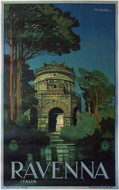 Art Print: Ravenna, Italia (Italy) - Mausoleum of Theodoric the Great by Attilio Ravaglia : Poster Vintage, Vintage Travel Posters, Tourism Poster, Travel Ads, Railway Posters, Environmental Art, Europe, Vintage Advertisements, Italy Travel