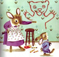 illustration by Richard Scarry - Naughty Bunny Richard Scarry, Photo Images, Rabbit Art, Little Golden Books, Vintage Children's Books, Children's Book Illustration, Cute Art, Illustrators, Art For Kids