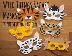 These+beautiful+and+simple+felt+masks+will+inspire+hours+of+imaginative+play+in+the+lucky+recipients.+Masks+are+quick+and+easy+to+make+and+make+a+wonderful+gift+for+little+ones+which+parents+are+sure+to+love+too!  Patterns+include+full+templates+and+simple,+illustrated,+step+by+step+instructions+to+make+your+own+Tiger,+Lion,+Leopard,+Snow+Leopard,+Giraffe+and+Zebra+Masks+with+this+Wild+Things+Safari+Mask+PDF+Sewing+Pattern.+  Suitable+for+beginners.  BONUS:+Also+included+are+printable+...