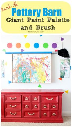 Pottery Barn Knock-off Giant Paint Palette and Brush - great for your kids play room or bedroom! KristenDuke.com