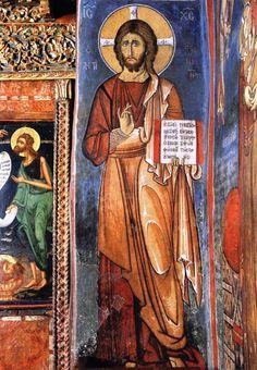Fresco, Christian, Baseball Cards, Painting, Byzantine Art, Fresh, Painting Art, Paintings, Painted Canvas