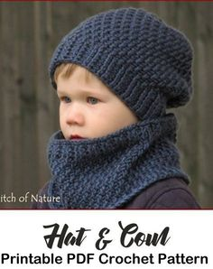 Make a cozy hat & cowl. Hat & Scarf crochet pattern - Hooded Scarf Crochet Patterns – Great Cozy Gift - A More Crafty Life Make a cozy hat & cowl. Hat & Scarf crochet pattern - Hooded Scarf Crochet Patterns – Great Cozy Gift - A More Crafty Life Crochet For Boys, Crochet Baby Hats, Baby Knitting, Knitted Hats, Childrens Crochet Hats, Free Knitting, Crochet Mug Cozy, Knit Crochet, Crochet Stitches