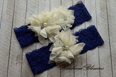 Hey, I found this really awesome Etsy listing at https://www.etsy.com/listing/267952277/blue-and-ivory-bridal-garter-set