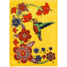 Hummingbird Hibiscus Burlap Garden Flag