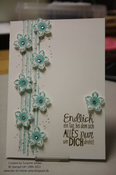 Stampin' Up! ... handmade card ... Tizzy-Tuesday Challenge # 147 ... colums of small punched flowers popped up over grunge lines with tiny dots ... lovely one layer look with texture ...