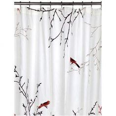 """Cotton shower curtain with a bird motif.    Product: Shower curtainConstruction Material: CottonColor: Ivory, caf and persimmonFeatures:  12 Buttonholes300 Thread count Dimensions: 72"""" H x 72"""" WNote: Liner and shower rings not includedCleaning and Care: Machine wash"""