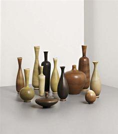 View Group of 12 vases by Berndt Friberg sold at Design on 30 Apr London. Glass Ceramic, Ceramic Clay, Porcelain Ceramics, Big Vases, Scandinavian Art, Clay Design, Modern Ceramics, Modern Retro, Flower Vases