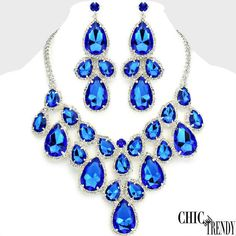 HIGH END BLUE SUPER CHUNKY CRYSTAL PROM WEDDING FORMAL NECKLACE JEWELRY SET CHIC #Unbranded