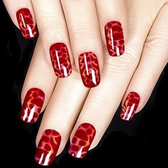 Red Patches Valentine's Day Nail Art