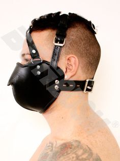 Leather Muzzle Head Harness BDSM fetish bondage Head by BONBDSM