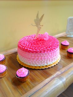 Glitter Tinkerbell silhouette cake topper and pink ombre cake !!