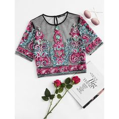 Women's Clothing Imported From Abroad Mesh Flower Sexy Perspective Gauze Embroidery Word Shoulder Crop Top Summer Sexseries For Girls Party Club Girls Shirts