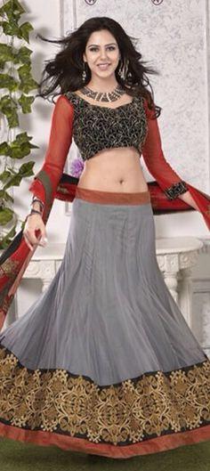 GREY BRIDAL WEAR - order at flat 15% off + free shipping.  #IndianWedding #IndianFashion #Lehenga #Bride