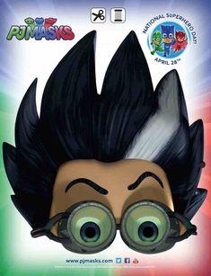 PJ Masks Party Printables Romeo Mask for FREE via Mandy's Party Printables Pj Masks Kostüm, Romeo Pj Masks, Pj Masks Games, Festa Pj Masks, Pj Masks Printable, Printable Halloween Masks, Party Printables, Free Printable, Halloween Cakes