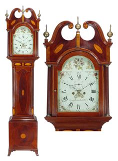 Hepplewhite Mahogany Inlaid Tall Case Clock Luther